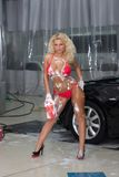 Sexy woman washing car Stock Photo