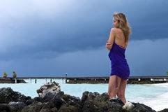 Sexy woman watching indian ocean Stock Images