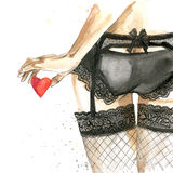 Sexy woman watercolor drawing. Erotic young woman in sexy underwear and Valentine's Day background. Valentine day watercolor illr. Royalty Free Stock Photos