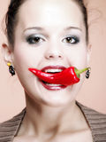 Sexy woman wear with chili pepper food Stock Photography