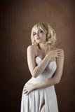 Sexy woman wear white fashion cloth Stock Photos