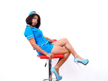 Sexy woman wearing air hostess uniform Stock Images
