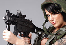 woman wearing army gear Royalty Free Stock Image
