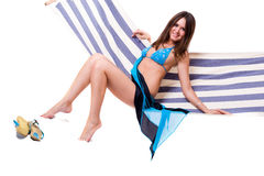 Sexy woman wearing bikini relax on hammock Stock Photography