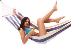 Sexy woman wearing bikini relax on hammock Royalty Free Stock Photo