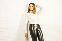 Sexy woman wearing black Patent leather pants Stock Image