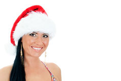 Sexy woman wearing christmas hat. Stock Photos
