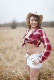 Sexy woman wearing cowboy hat Royalty Free Stock Photography
