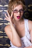 Sexy woman wearing glasses Stock Image