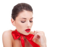 Sexy  Woman Wearing red ribbon Royalty Free Stock Images