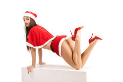 Sexy woman wearing santa claus clothes. Portrait of young sexy woman wearing santa claus clothes  isolated on white background Royalty Free Stock Images