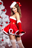 woman wearing santa clause costume Royalty Free Stock Images
