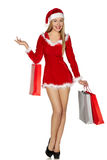 woman wearing santa clause costume Stock Photo