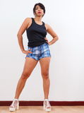 woman wearing shorts and tank top Royalty Free Stock Photo