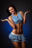Sexy woman wearing striped costume Royalty Free Stock Photography