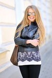 Woman wearing sunglasses. Outdoors royalty free stock photo