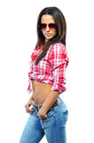 Sexy woman wearing sunglasses against white background Royalty Free Stock Images