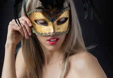 Sexy woman wearing venetian mask Royalty Free Stock Photo