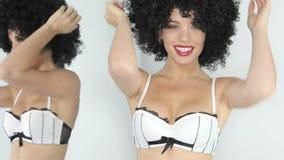 Sexy woman wearing white bikini stock video footage