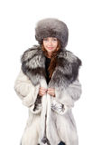 Sexy woman wearing winter fur Royalty Free Stock Photos