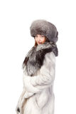 Sexy woman wearing winter fur Royalty Free Stock Image