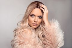 Free Sexy Woman Wears In Pink Fur Coat. Ombre Blond Hairstyle. Beauty Fashion Blonde Portrait. Beautiful Girl Model With Makeup, Long Stock Image - 149863801