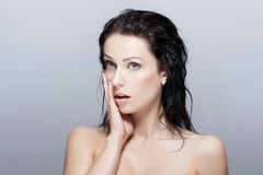 Sexy woman with wet hair surprised Royalty Free Stock Images