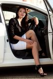 Sexy woman in white car Royalty Free Stock Photo