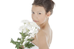 Sexy woman with a white flower. Stock Images