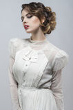 Sexy woman in white long retro dress Royalty Free Stock Photos
