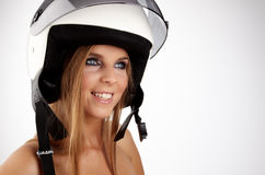 Sexy woman with a white motrcycle helmet Stock Photography