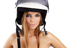 Sexy woman with a white motrcycle helmet Royalty Free Stock Images