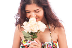 Sexy woman  and white rose flower Royalty Free Stock Photos