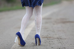 Sexy woman with white stockings Royalty Free Stock Photos