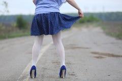 Sexy woman with white stockings Stock Photos