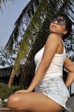 Sexy woman white top denim shorts Stock Photos