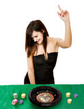 Sexy woman wins at casino Royalty Free Stock Photography
