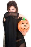 Sexy woman witch with halloween pumpkin Royalty Free Stock Images