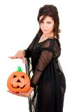 Sexy woman witch with halloween pumpkin Royalty Free Stock Photo