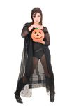 Sexy woman witch with halloween pumpkin Royalty Free Stock Image