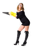 Sexy woman worker with saw Stock Photography