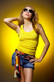 Sexy woman on Yellow Royalty Free Stock Image