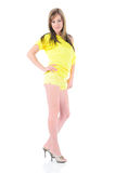 Sexy woman in yellow Royalty Free Stock Image