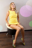 Sexy woman in yellow dress Stock Photo