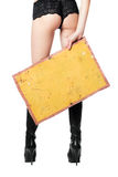 Sexy woman with yellow vintage board. Back view Royalty Free Stock Images
