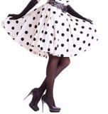 Womanish leg in retro style. Isolated on white background royalty free stock photos