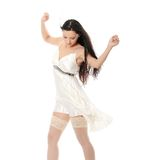 Sexy women. In short dress over white Stock Image