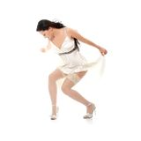 Sexy women. In short dress over white Stock Photography