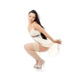 Sexy women. In short dress over white Royalty Free Stock Images