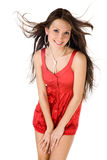 Sexy women. In short red  dress on white background Royalty Free Stock Photo